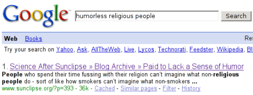 Google search for humorless religious people