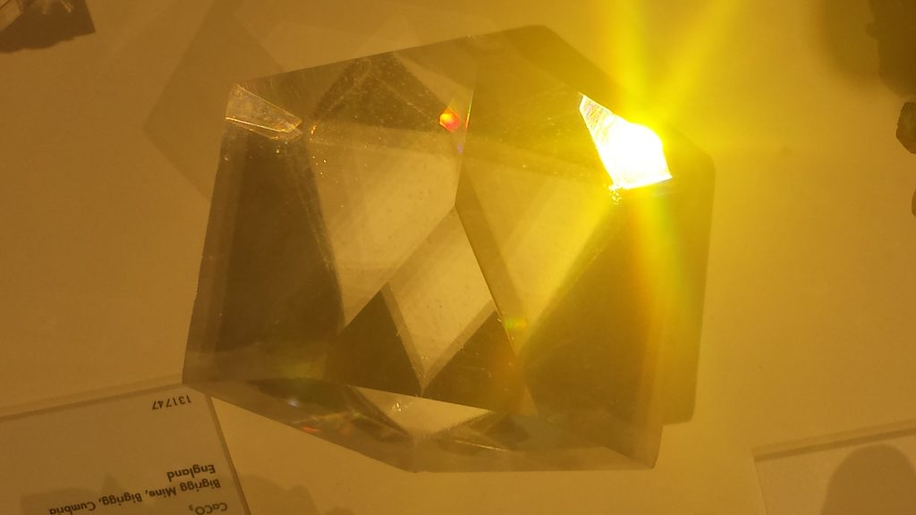large clear calcite crystal, Harvard Museum of Natural History